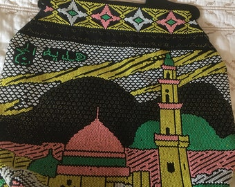 Vintage beadwork Arabic scene bag