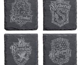 Hogwarts Houses Engraved Slate Coaster Set