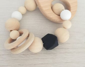 Silicone with natural wood teether