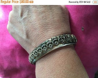 SALE Vintage SANDOR Hinged Bangle Bracelet Raised Floral Romantic Victorian