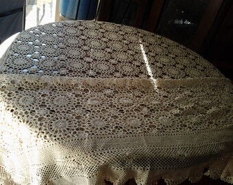 Handmade Vintage Beige Crochetted Tablecloth - Rectangular