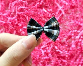 Black Plaid Bows (15pcs),Black Gingham Bows,Plaid Bow Tie, Plaid Ribbon Bows,Gingham Craft Bows,Bow Applique,Party Craft,Mini Black Bow