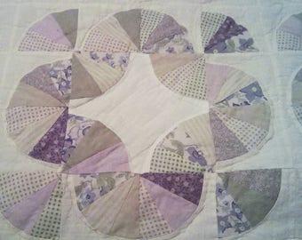 Quilt, vintage quilt, shabby chic quilt, farmhouse decor, vintage, flower quilt, floral quilt, purple quilt, shabby chic decor, vintage farm