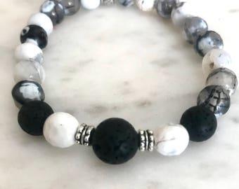 Agate & Lava Stone stretch bracelet