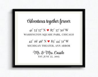 Adventures Together Forever, Special Locations, Custom GPS Coordinates Print, Special Dates Keepsake, Anniversary Gift - (D227)