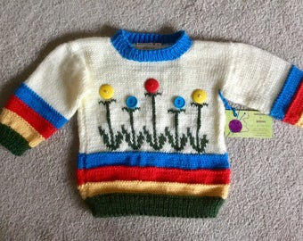 Flower Patch sweater for a toddler
