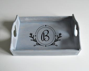 Personalized serving tray-Custom Tray-Initial Tray-Serving Tray Initials-Monogram Tray-Blue Wooden Tray-Heart Handles-Distressed Tray