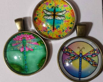 3 mixed dragonfly.. glass cabochon pendants  destash  clearance #p27