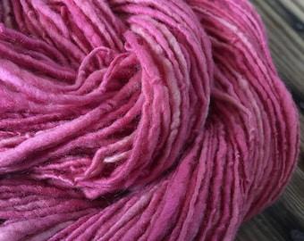"""Handspun Yarn Natural Dyed """"Pokeberry Pink"""""""
