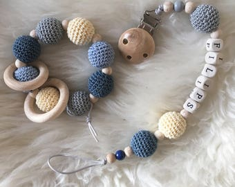 Baby shower gift • Wooden pacifier clip • Dummy holder • Wooden Teeteher • Wooden dummy chain • Dummy holder • Teething Toy