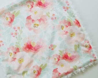 Floral Watercolor Lovey, Minky Lovey, Floral Blanket, Baby Girl Lovey, Modern Baby Blanket, Floral Minky Blanket, Baby Girl Blanket