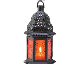 Amber Moroccan Candle Lantern outdoor living,home and garden, lighting, lanterns, home decor,