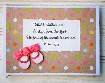RELIGIOUS BABY GIRL Card - Handmade/Homemade Religious/Scripture/Bible Verse Baby Girl Card