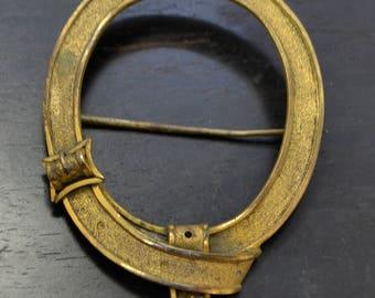 HUGE Victorian / Georgian Gilt Metal BELT & BUCKLE Garter Brooch / Cloak Pin