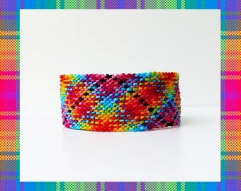 Ethnic Rag Rug Rainbow Plaid Friendship Bracelet mexican native colorful scottish kilt thick wide macrame gift idea thread- Q'enqo Bracelets