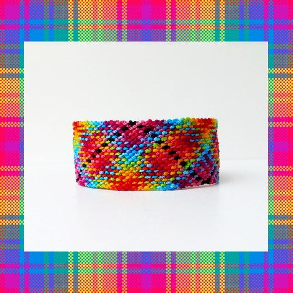 Ethnic Rag Rug Rainbow Plaid Friendship Bracelet Mexican