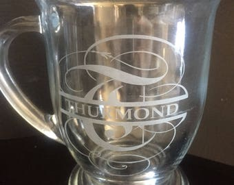 Custom personalized monogram glass etched coffee mug