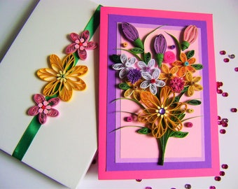 Quilling Beautiful card,Quilled Summer flowers,Summer flowers,Congratulation gift,Quilling Flowers,3D greeting cards,All Ocassion Card