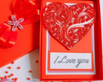 """Quilled heart card,Gift for wedding,Quilled letters,Love by Quilling,Quilled valentine and heart cards,Quilling """"Cute Love"""",For Your Love"""
