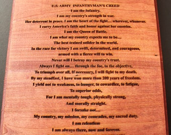 Infantryman's Creed, Infantry creed, creed, infantryman, military, US Army, Army, USA, America, Soldier, Laser engraved, Plaque, Sign, Gift