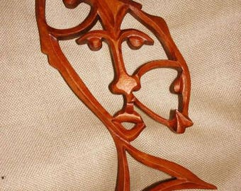 Sign Pisces,   Pisces Constellation,  Wooden sign Pisces ,   Woodcarving Pisces, Carving wall,Pisces  mask