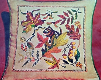 "Signs of Autumn Fall Leaves Chipmunk Acorns 16"" Crewel Pillow Kit Linen Maple"