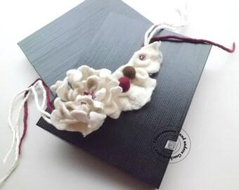 Felt outstanding textile art jewelry necklace collar choker bracelet felted gift idea women sister wife coworker-gift OOAK easter gift