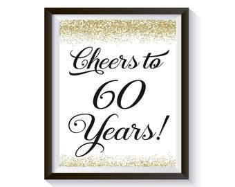 Cheers to 60 Years, 60th Birthday Sign, 60th Anniversary Gift, Gold Birthday Party Decorations, 60th Birthday Card, Funny Birthday Decor