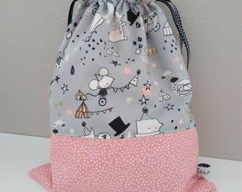Kids DrawString bag girl pink and gray theme circus animals