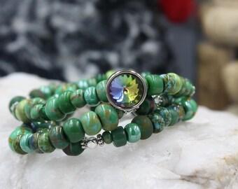 Women's Beaded Bracelet, 100 Year Old Murano Glass Beads,  Picasso Beads, Tibet Mala Beads & Vintage Glass Button, Mouan Sartoux Bracelet