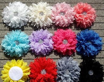 40% SALE Mia Collection WHOLESALE Lovely Crochet Lace Tulle Mesh Flower With Rhinestone Center For Hair Accessories Fabric Flowers For Headw