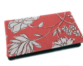 checkbook holder in thick floral fabric