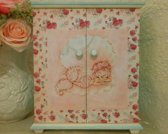 Victorian roses pink and blue mermaid Jewelry box