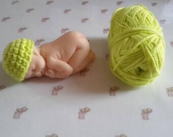 Yellow green cotton crochet Handmade miniature polymer clay baby bonnet