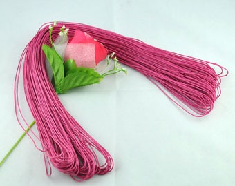 80 meters WAXED cotton thread cord 1 mm FUSCHIA pink color