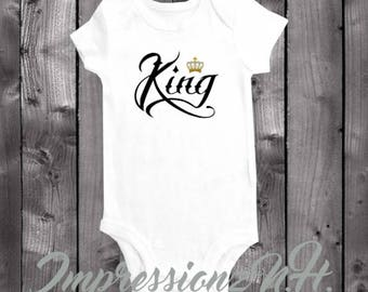 King with crown - funny  baby onesie bodysuiti shirt