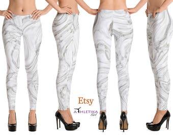 Liquid Gray Marble Print Yoga Leggings Pants High Waist Hi Rise Low Rise Capri Tights Dance Wear Grey Marble Pattern Woman Girl Yogi Gift