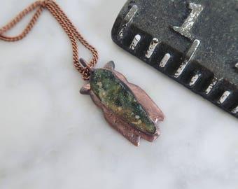 Druzy Green Chrome Chalcedony Owl Necklace
