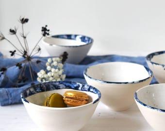 Handmade ceramic bowl, blue and white pottery, breakfast bowl, dessert bowl, handmade pottery, scandinavian ceramics