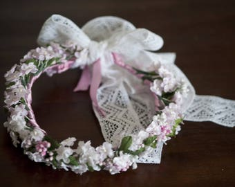 Pink and white fabric flower Crown