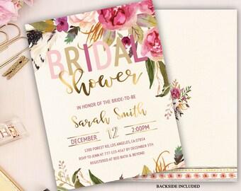 bridal shower invitation, boho bridal shower invitation, bohemian bridal shower invitation, peony and rose, bridal tea, bridal luncheon