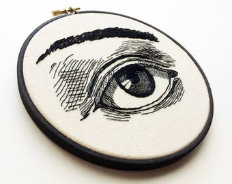 "Illustrated Eye 6"" Embroidery Hoop Evil Eye Sketch"