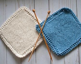 Knit Cotton Dishcloths - TWO
