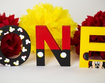 Mickey Mouse Party, Mickey Decorations, Mickey First Birthday, Mickey Mouse ONE Letters, 1st Birthday, Mickey Mouse