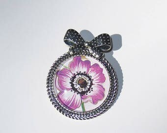 Purple Floral Bow Brooch, Pin, Anemone Flower, Flower Pin, Purple Flower Brooch, Brooch Pin, Bow Brooch, Floral Jewelry, Flower Jewelry
