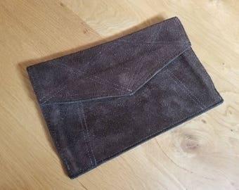 Dark Brown Suede Leather Envelope Clutch Purse