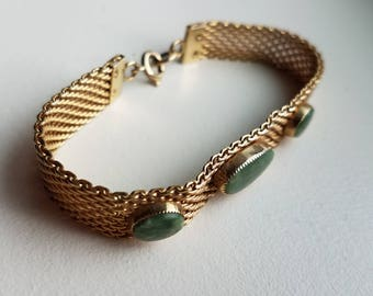 Gold Tone Mesh and Jade Stone Bracelet