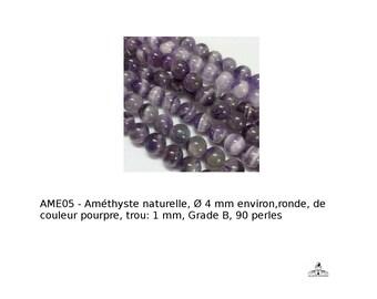 Améthyste naturelle, Ø 4 mm environ,ronde, de couleur pourpre, trou: 1 mm, Grade B, 90 perles (APS-PH-X-G-S022- améthyste)