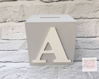 Wooden Personalised Letter, Initial Money Box