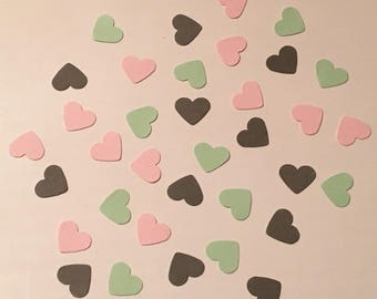225 Pink Mint Green and Gray Heart Confetti Bridal Shower Confetti Wedding Confetti Baby Confetti Shower Confetti 2018 Wedding Confetti